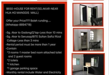 House/Room for RENT, Can DISCOUNT!!!Offer ur PRICE$$$, Whtapp 8894718