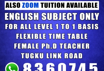 ENGLISH TUITION FEMALE TEACHER ALSO ZOOM SYSTEM ONE OT ONE